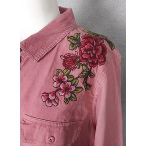 Pink Corduroy Embroidered 100% Cotton Button Down